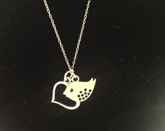 Bird and Heart charm necklace
