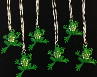 Six kids frog silver-plated necklaces