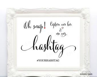 Hashtag Wedding Sign - Wedding Hashtag Sign - Wedding Instagram Sign - Wedding Signs - Wedding Decor - Hashtag Signs -BLACK10X8HWS4