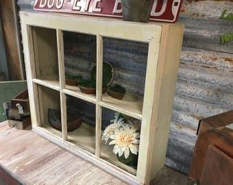 Vintage Window Hanging Shadow Box Shelves