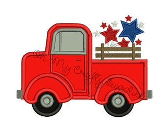 4th of July Truck Applique Embroidery Design