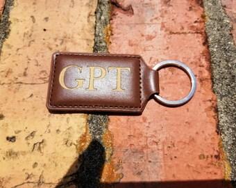 Personalized Engraved Leather Rectangular Keychain, Keyring, Key FOB, Key Holder, Key Clip