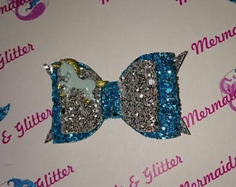 Unicorn glitter hair bow