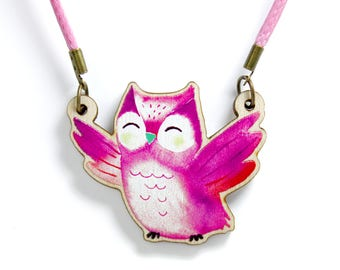 Kids Jewellery Necklace Wooden ***OWL***