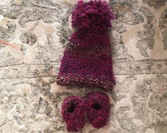 Multi-Pink Baby Booties & Hat Set