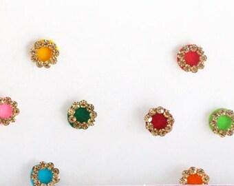 Plain Round Bridal Colored Bindis ,Wedding Round Bindis,Velvet Colorful Bindis,Colorful Face  Bindis,Bollywood Bindis,Self Adhesive Stickers