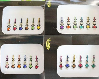 2 Packs Colored Long Face Bindi Stickers,Bridal Bindis Stickers,Long Bindis,Fashion Bindis,India Bindis,Wedding Bindis,Self Adhesive Sticker