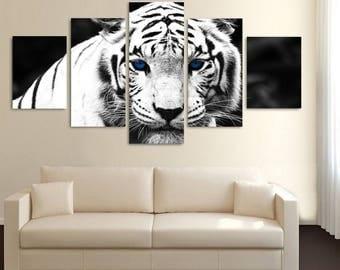 Tiger Canvas Art, Tiger Canvas Print, Tiger Large Canvas Print, Tiger 5 Piece Canvas Print, Tiger Wall Decor, Framed