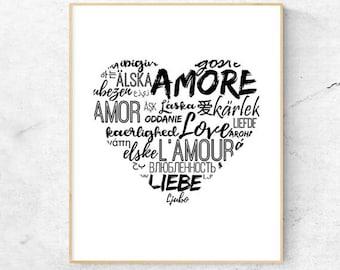 Digital DownloadPrintable Decor: Love, Black White Print, Typography Art Print, Bedroom Print