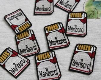 Marlboro cigarette iron on patch, embroidered patch, man patch, denim patch, cartoon, DIY