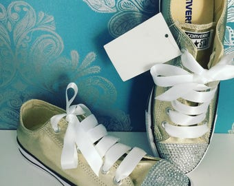 Gold crystal converse adult size 6