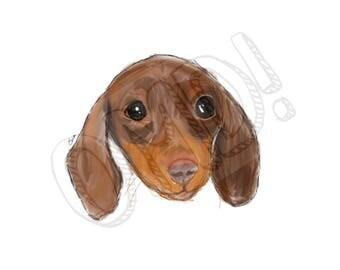 Digital Print   Sausage Dog!   Instant Download