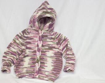 Purple Knitted Button-up Baby Sweater
