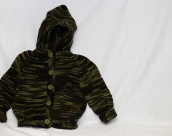 Camo Green Knitted Button-Up Baby Sweater