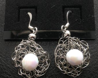 Dangle Earrings - Silver color wire crochet with an 8mm white crystal glass center bead. Bridesmaid gifts/great gifts/unique gifts
