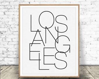 Los Angeles Print, Black and White Print, Los Angeles Printable, Travel Decor, Typography Art, Los Angeles, Digital Download, Hometown City