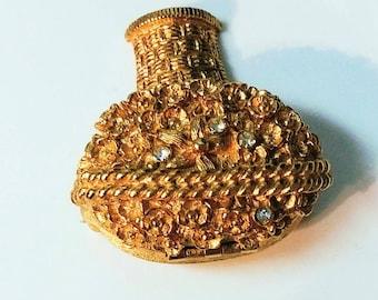 Unique Signed Avon Vintage Flower Basket Hidden Locket Gold Tone Brooch