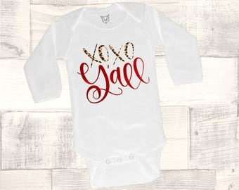 Baby Girl Valentine Outfit, Valentine Bodysuit, XOXO Y'all Bodysuit, XOXO Valentine, Girls Shirt, Babys Valentine Outfit, Cupid, Southern