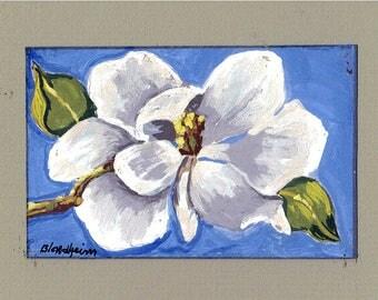 Magnolia Blossom Original Art Painting Flowers Floral Linda Blondheim Art