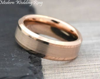 Rose Gold Tungsten Wedding Band Mens, Mens Rose Gold Wedding Band, Tungsten Carbide Rose Gold Ring, 8mm Rose Gold Tungsten Wedding Band