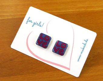 Girl children jewelry ear studs earrings love Silver 925
