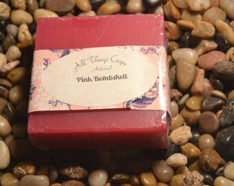 Pink Bombshell Soap -Natural Soap, Artisanal Soap,Soap for Dry Skin, Cold Process Soap, Handmade Soap, Best Selling Soap