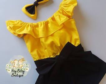 Yellow & Black Playsuit
