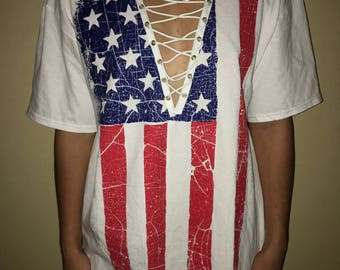 American flag lace up t-shirt