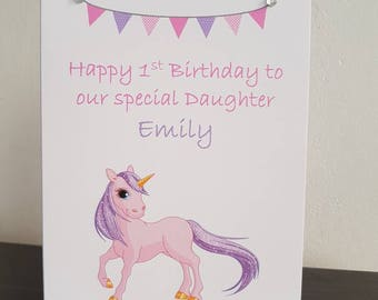 Personalised Unicorn birthday card with diamantes for age age name Daughter, Sister, Friend etc comes with envelope