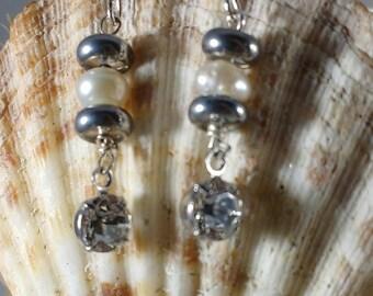 Genuine Pearl With Swarovski Crystal Drop Earrings