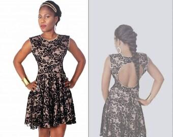 Flare Lace open back reversible dress