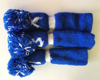 golf club head covers, set of 3, blue