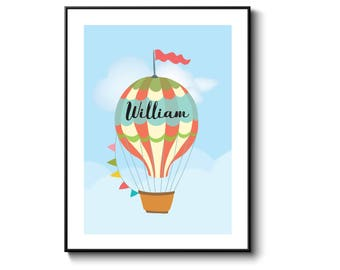Hot air balloon, nursery print, nursery decor, baby shower gift, gift for baby, personalised gift, personalized gift for baby, gift for mom