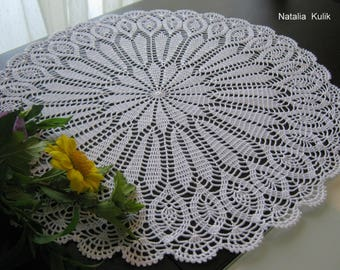 Crochet doily, crochet napkin, white doily, lace napkin, home decor, openwork doily, knitting doilies, coton doily, round doily,lace napkin