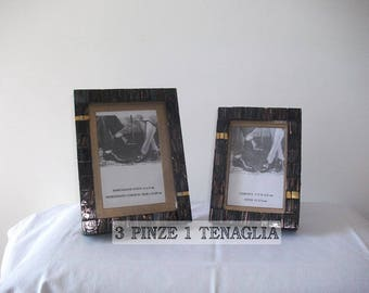 Pair of glass mosaic frames with gold inserts