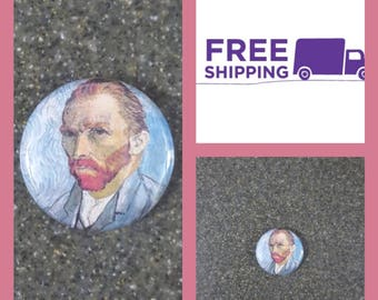 """1"""" Van Gogh Portrait Button Pin or Magnet, FREE SHIPPING & Coupon Codes"""