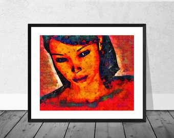 Portrait in Red, Portrait Art Print, Figurative Art Print, Figure, Red Portrait, Portraiture, Fine Art Print