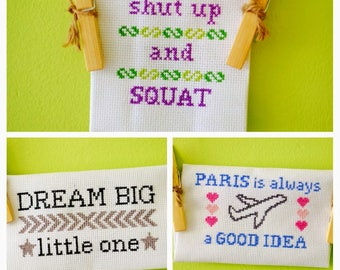 Your words here! Individually designed custom cross-stitch (made to order)