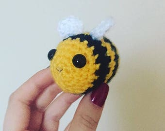 Crochet Bumblebee Decoration / hanging knitted keyring / crocheted bumble bee / handmade amigurumi animal key chain / keychain ring