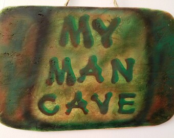 My Man Cave Sign, Painted Wood Wall Hanging