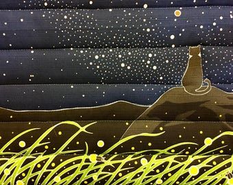 Spoil your furry friend!  Cozy cat mat, quilted bed for your kitty - starry night - all proceeds to local humane society.