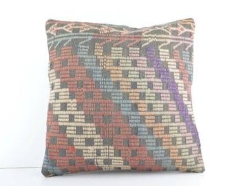 Decorative Kilim Pillow, 18''x18'' Embroidered Kilim Pillow, Turkish Kilim Pillow, Decorative Kilim Pillow, Handmade Kilim Pillow