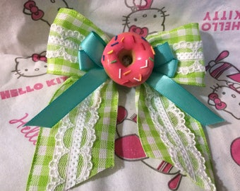 Little Miss Plaid and Lace Donut Hair Bow