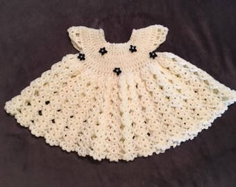 Baby Girl White Crotchet Dress