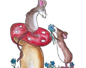 "Postcard ""mice thank you""-post card, gift card, greeting card"