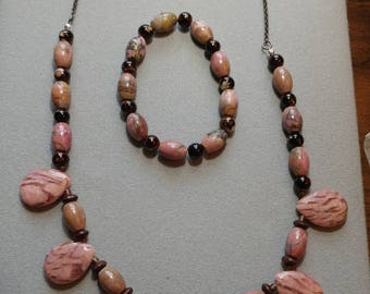 Set: Pink Stone Necklace and Matching Bracelet