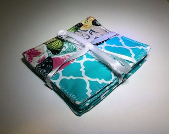 Butterfly Coasters | Butterfly | Square Coasters | Set of Four Coasters | Reversible Fabric Coasters