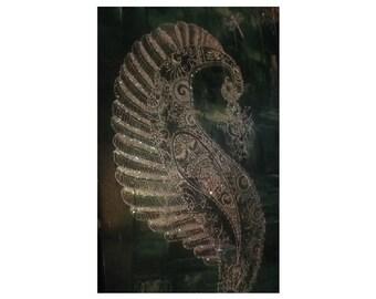 White Peacock, Canvas Art, Henna design, glitter, diamonte, pearl, wall art