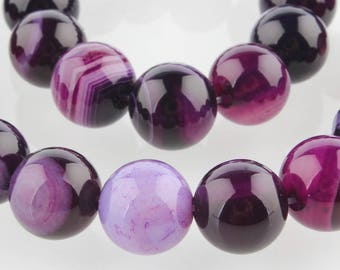Pearl Agate Purple 12 mm natural stone