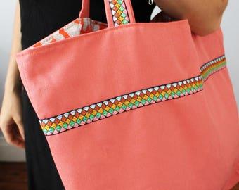 Shoulder bag, salmon and ethnic woven Ribbon